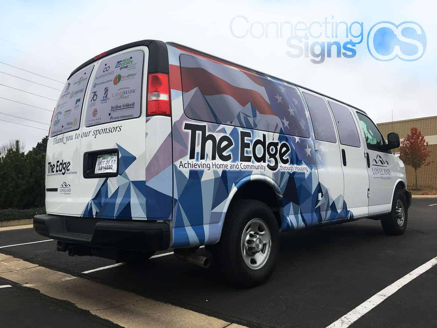 Shuttle Van Wrap - Connecting Signs