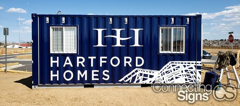 repurposed shipping container office wrap graphics